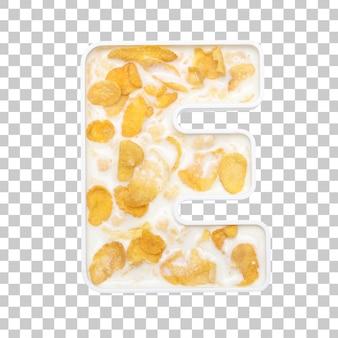 Cornflakes granen met melk in letter e kom