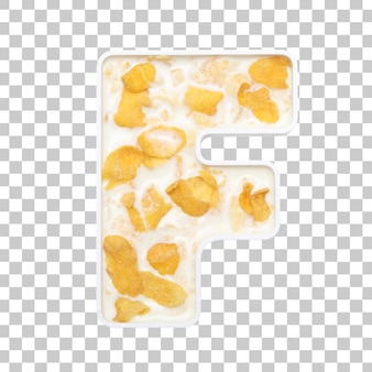 Cornflakes granen met melk in letter f kom
