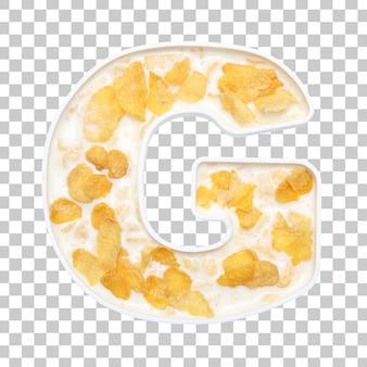Cornflakes granen met melk in letter g kom