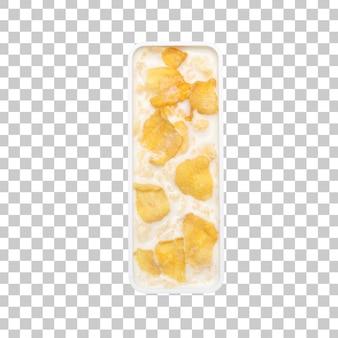 Cornflakes granen met melk in letter i kom
