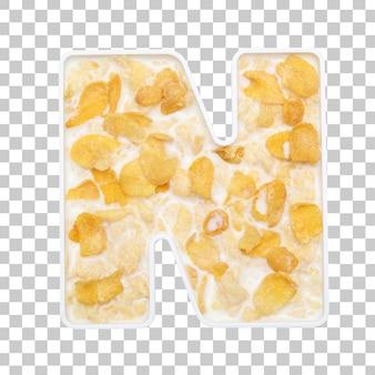 Cornflakes granen met melk in letter n kom