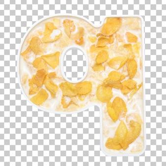 Cornflakes granen met melk in letter q kom