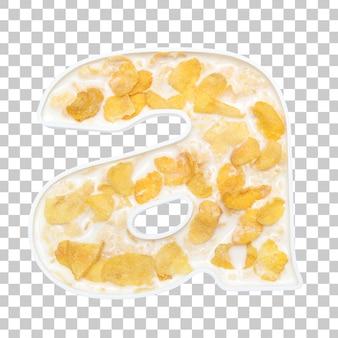 Cornflakesgraangewas met melk in brief een kom