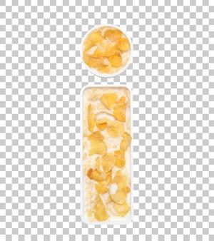 Cornflakesgraangewas met melk in brief i kom