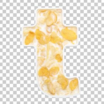 Cornflakesgraangewas met melk in brieven t kom