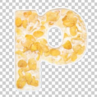 Cornflakesgraangewas met melk in brievenp kom