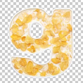 Cornflakesgraangewas met melk in de kom van brieveng