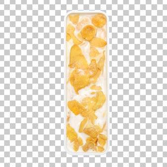 Cornflakesgraangewas met melk in de kom van brievenl