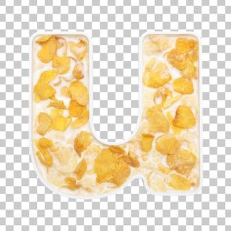 Cornflakesgraangewas met melk in de kom van brievenu