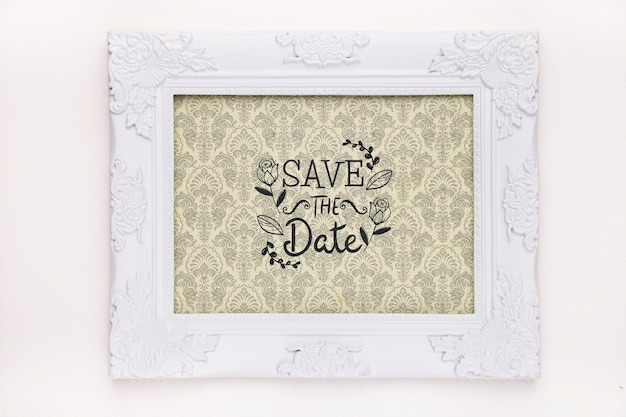 Cornice con design vintage salva la data mock-up