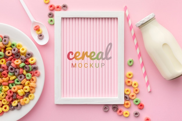 Cornice con messaggio di cereali lungo cereali sul tavolo