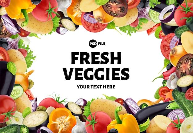 Cornice fatta di diverse verdure, erbe e spezie, con spazio di copia
