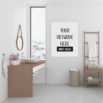Cornice mockup, bagno con cornice verticale bianca, interni scandinavi