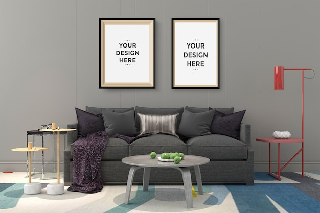 Cornice per foto su parete mockup
