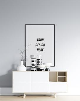 Cornice per poster e mockup da parete con decorazione minimalista