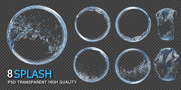 Cornice rotonda con spruzzi d'acqua trasparente