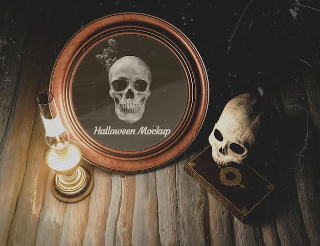 Cornice rotonda halloween alta vista con teschio
