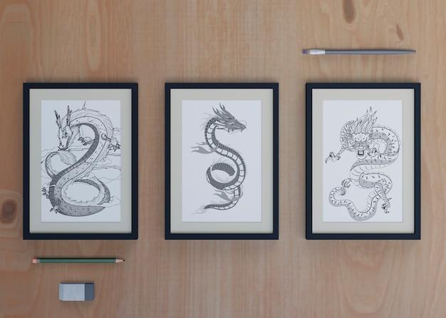 Cornici con serpente schizzo sul foglio