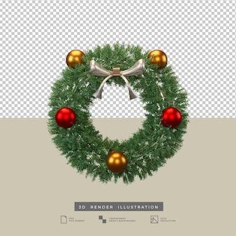 Corona de navidad con arco plateado y decoración de bolas ilustración 3d