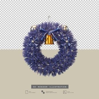 Corona de navidad azul con campana dorada ilustración 3d