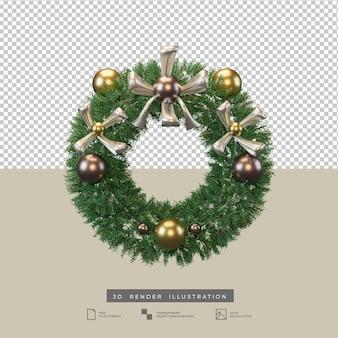 Corona de navidad realista con arco metálico y decoración de bolas ilustración 3d