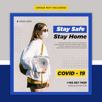 Corona virus waarschuwing social media post template psd