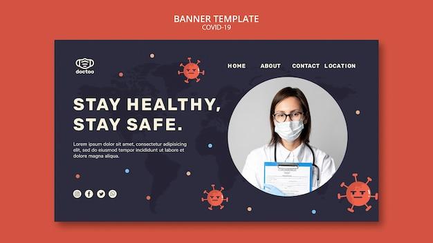 Coronavirus banner met foto van dokter