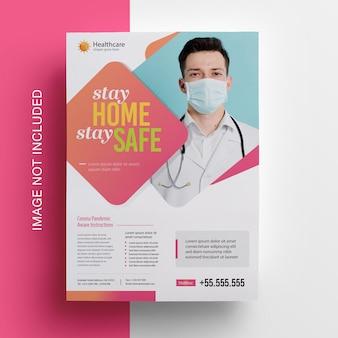 Coronavirus covid-19 flyerlay-out voor medische gezondheid