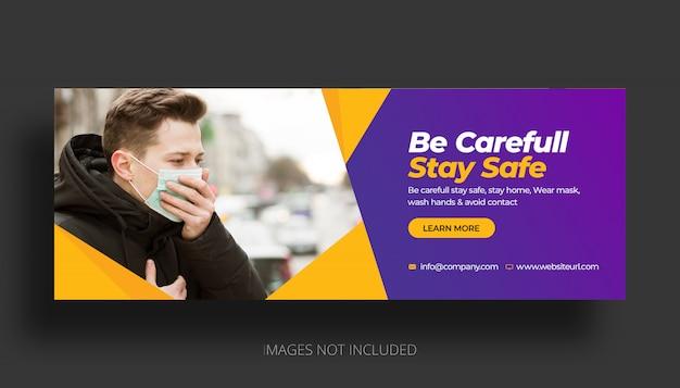 Coronavirus facebook voorbladsjabloon