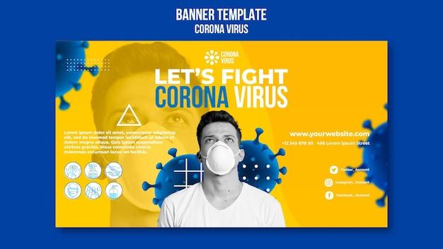 Coronavirus horizontale banner sjabloon