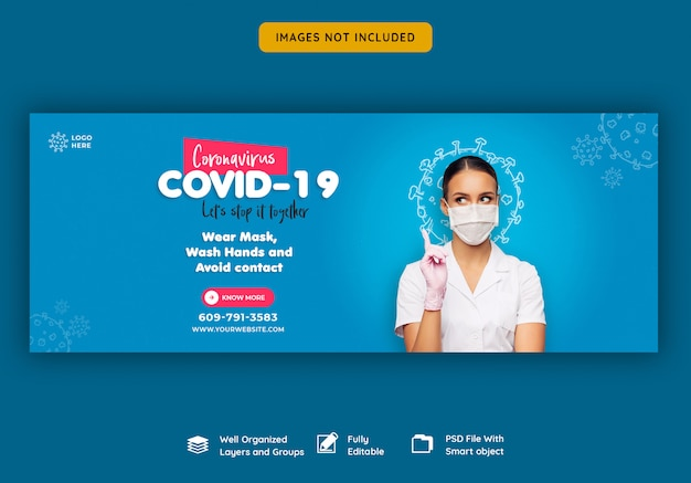 Coronavirus of convid-19 facebook voorbladsjabloon