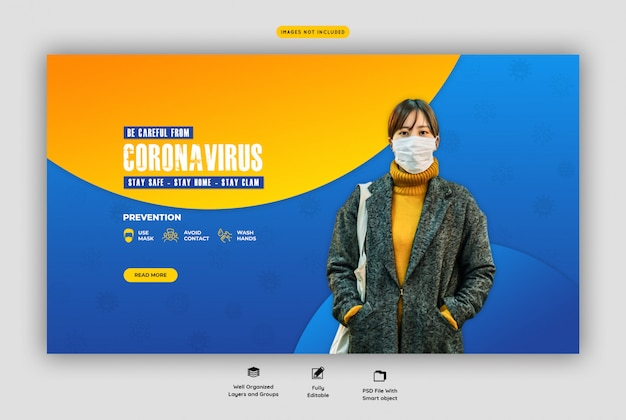 Coronavirus of covid-19-sjabloon voor webbanners