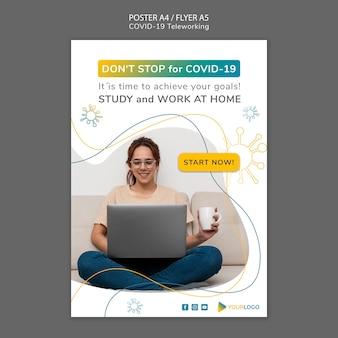 Coronavirus poster sjabloon met afbeelding