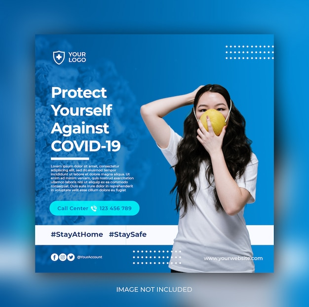 Coronavirus preventie banner social media postsjabloon