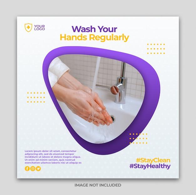 Coronavirus preventie media instagram banner postsjabloon of vierkante flyer