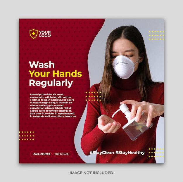 Coronavirus-preventiebanner of vierkante flyer voor instagram-postsjabloon voor sociale media
