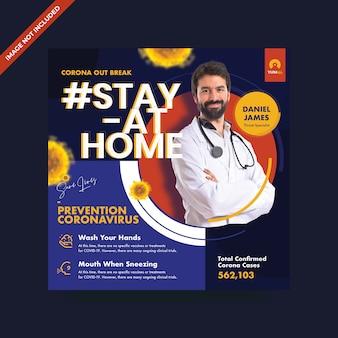 Coronavirus promo-sjabloon voor sociale media