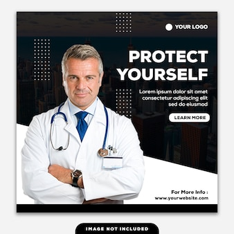 Coronavirus-sjabloonpost, vierkante banner, bescherm uzelf en uw gezin