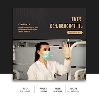 Coronavirus social media post-sjabloon instagram, medisch zwart