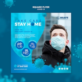 Coronavirus verblijf thuis vierkante flyer