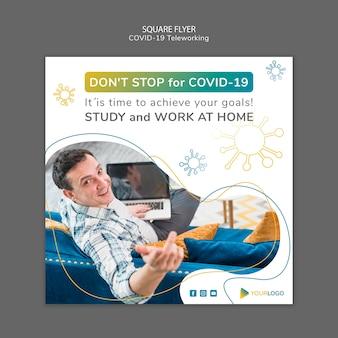 Coronavirus vierkante flyer-sjabloon met foto