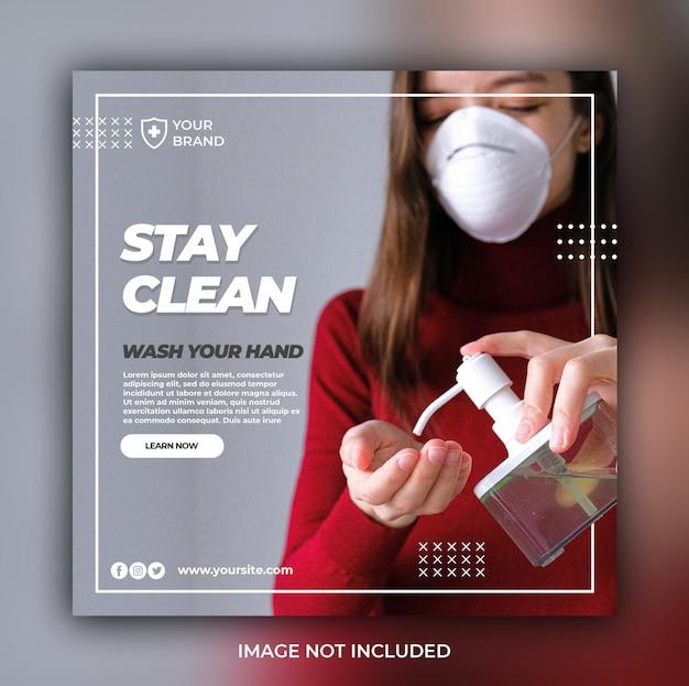 Coronavirus waarschuwing sociale media instagram banner postsjabloon of vierkante flyer