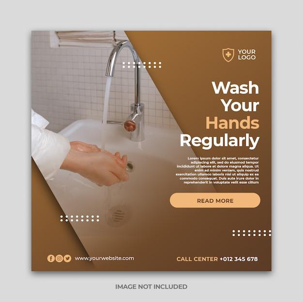 Coronaviruspreventie sociale media instagram bannermalplaatje of vierkante flyer