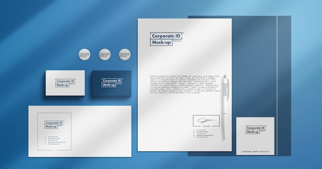 """Corporate identity scene """"mock-up di cancelleria con oggetti mobili"""