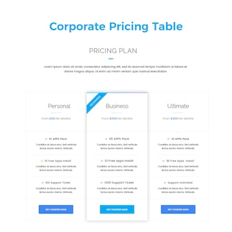 Corporate pricing table banner