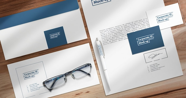 Corporate stationery mock up close-upweergave instellen met beweegbare objecten