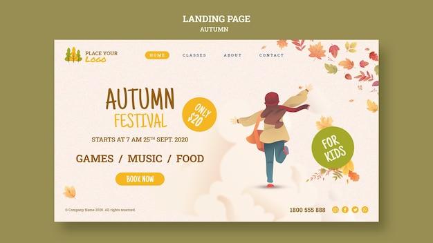 Correndo verso la pagina di destinazione del festival autunnale