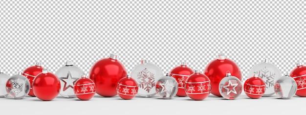 Cortar adornos navideños rojos y de vidrio aislados alineados
