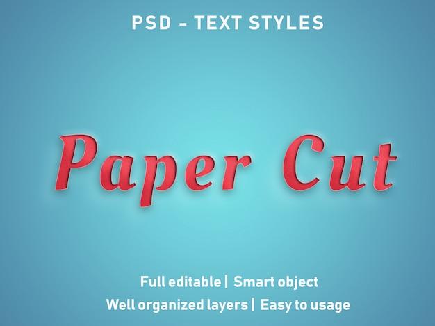 Corte de papel efectos de texto estilo editable psd