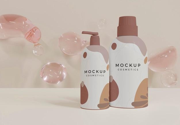 Cosmetica mockup en bubbels arrangement
